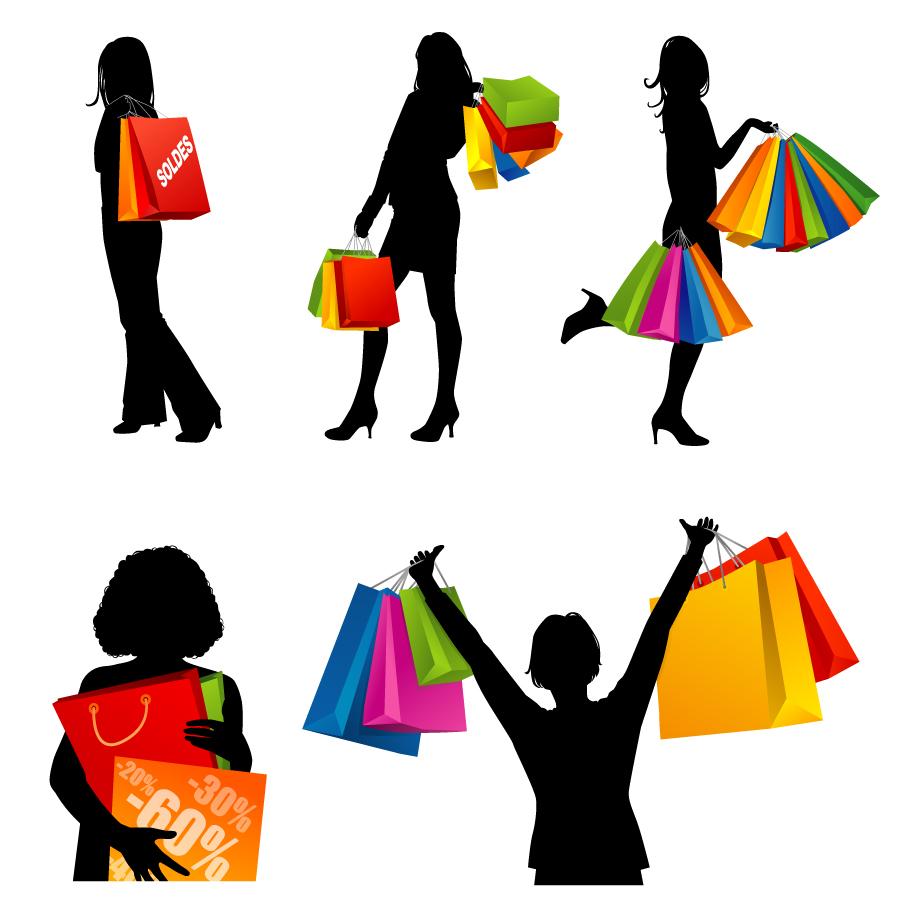 買い物を楽しむ女性のシルエット Fashion shopping women silhouettes イラスト素材1