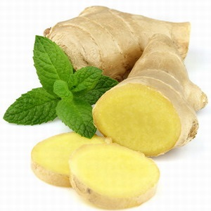 Ginger with mint. On a white background